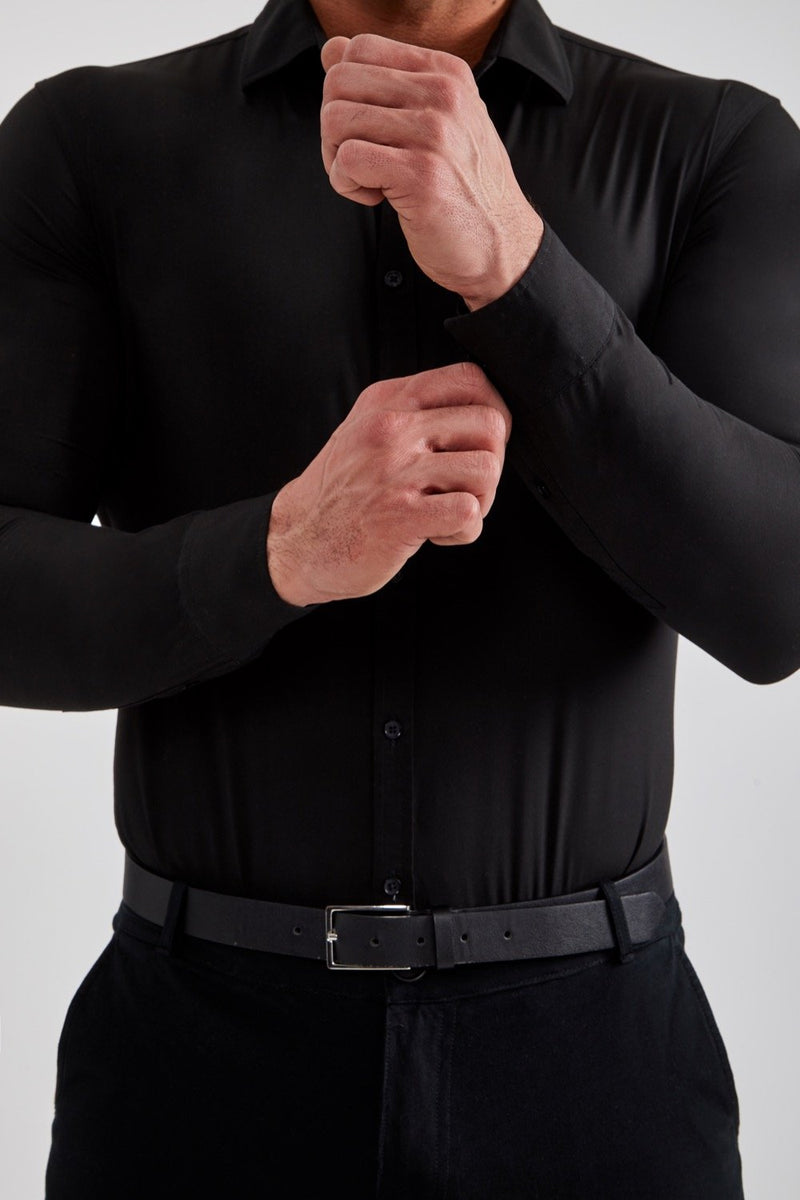 Stretch Bamboo Shirt in Black