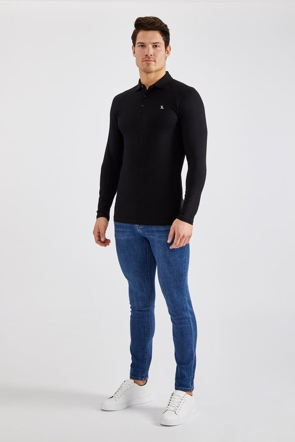 Essential Polo Shirt (LS) in Black