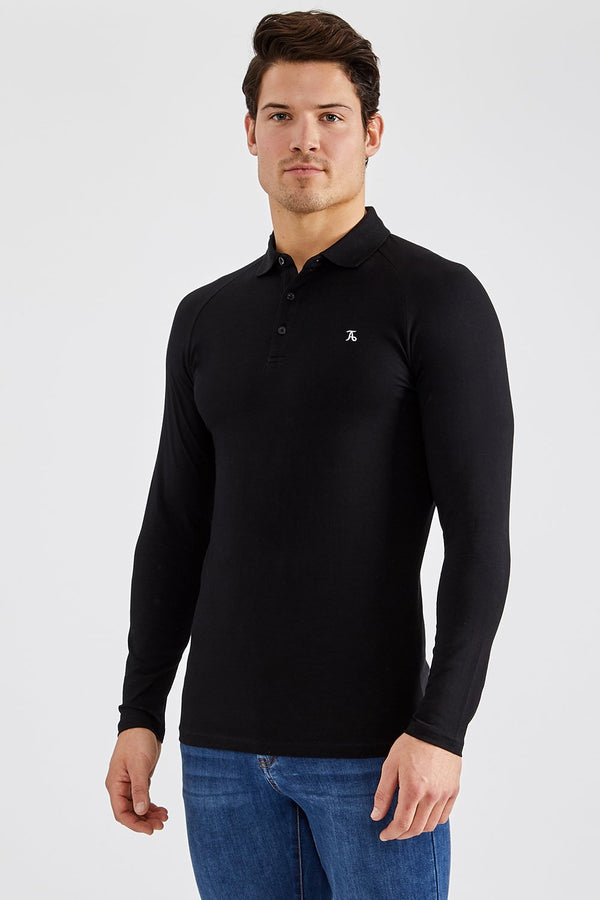 Stretch Polo Shirt (LS) in Black