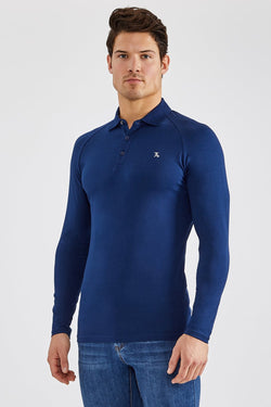 Stretch Polo Shirt (LS) in Navy