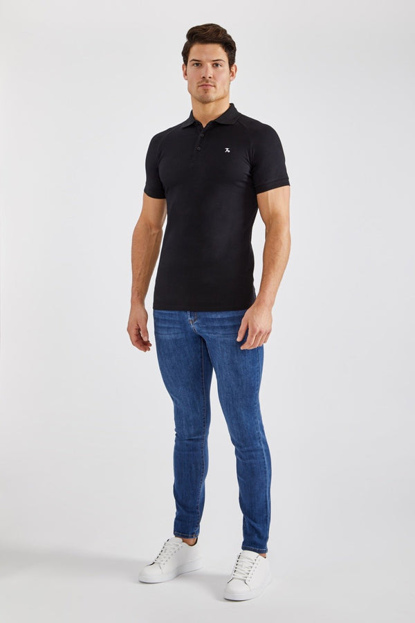 Stretch Polo Shirt in Black