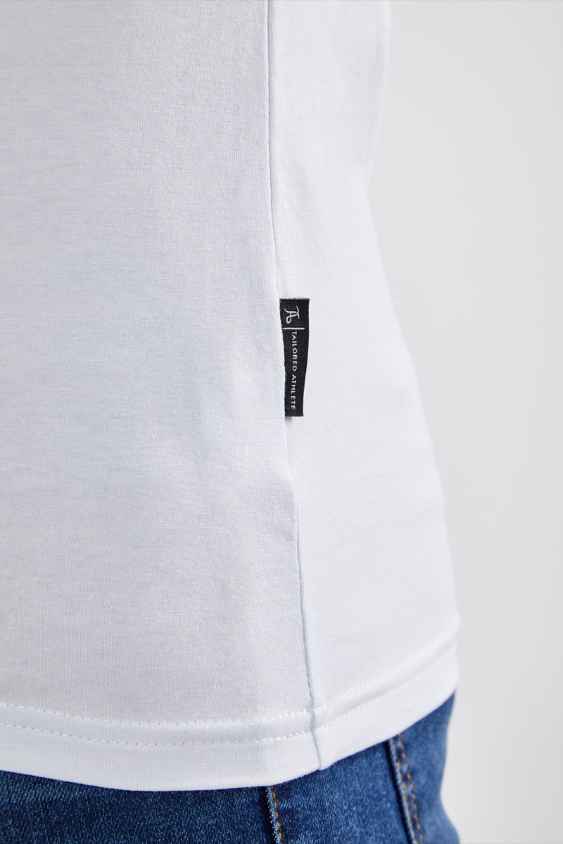 Stretch V T-Shirt in White