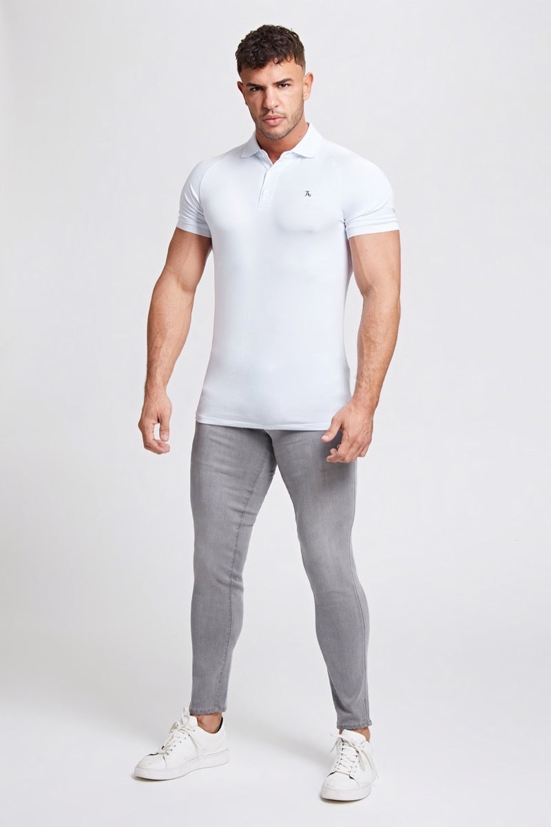 Premium Stretch Jeans in Light Grey