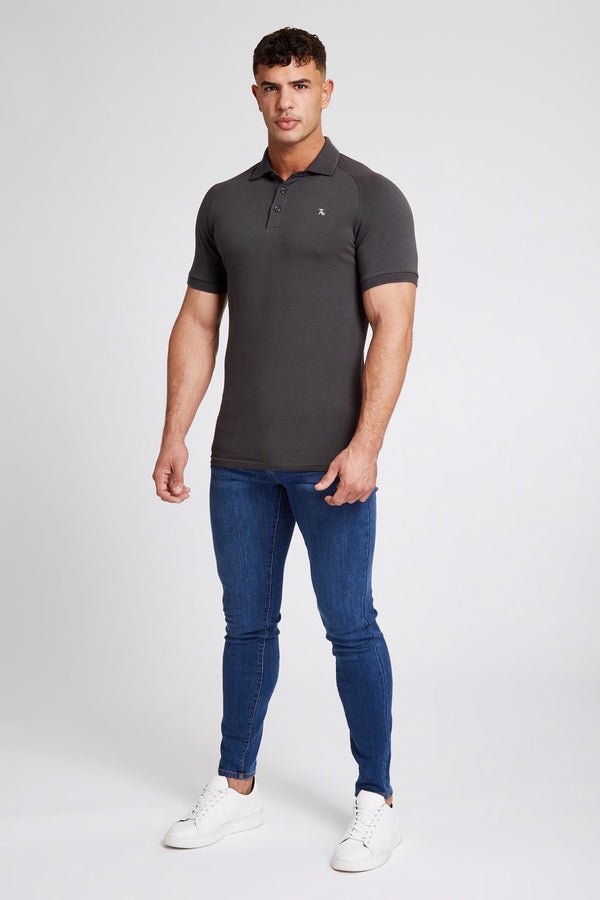 Stretch Polo Shirt in Charcoal