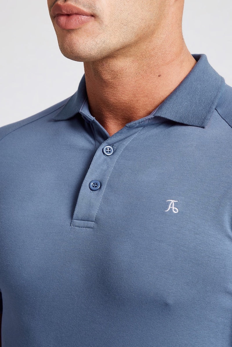 Stretch Polo Shirt in Stone Blue
