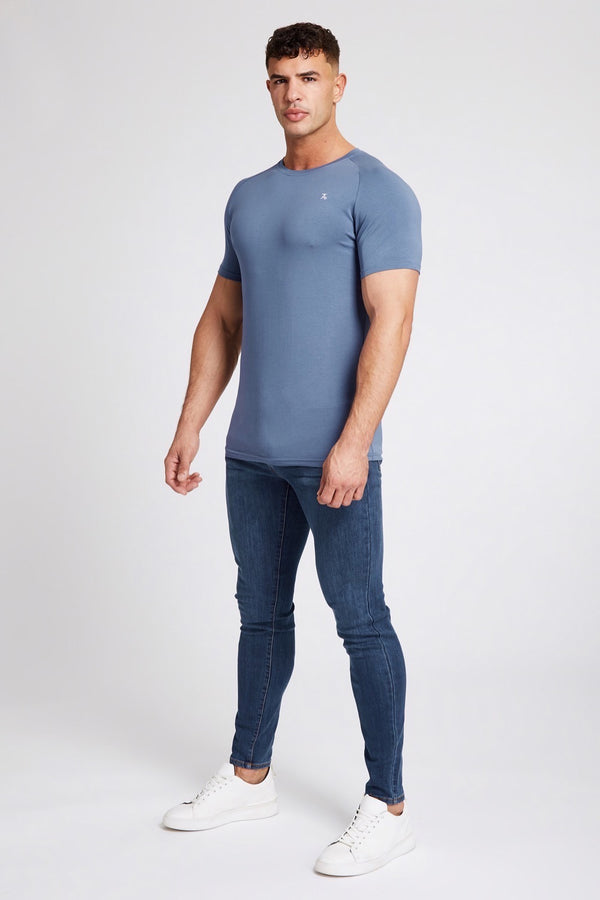 Stretch T-Shirt in Stone Blue