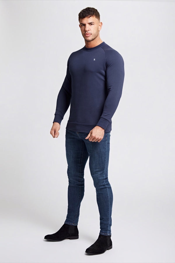 Crew Neck Sweater in Navy
