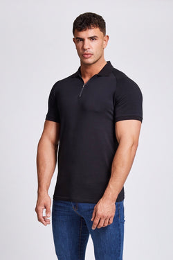 Zip Polo Shirt in Black