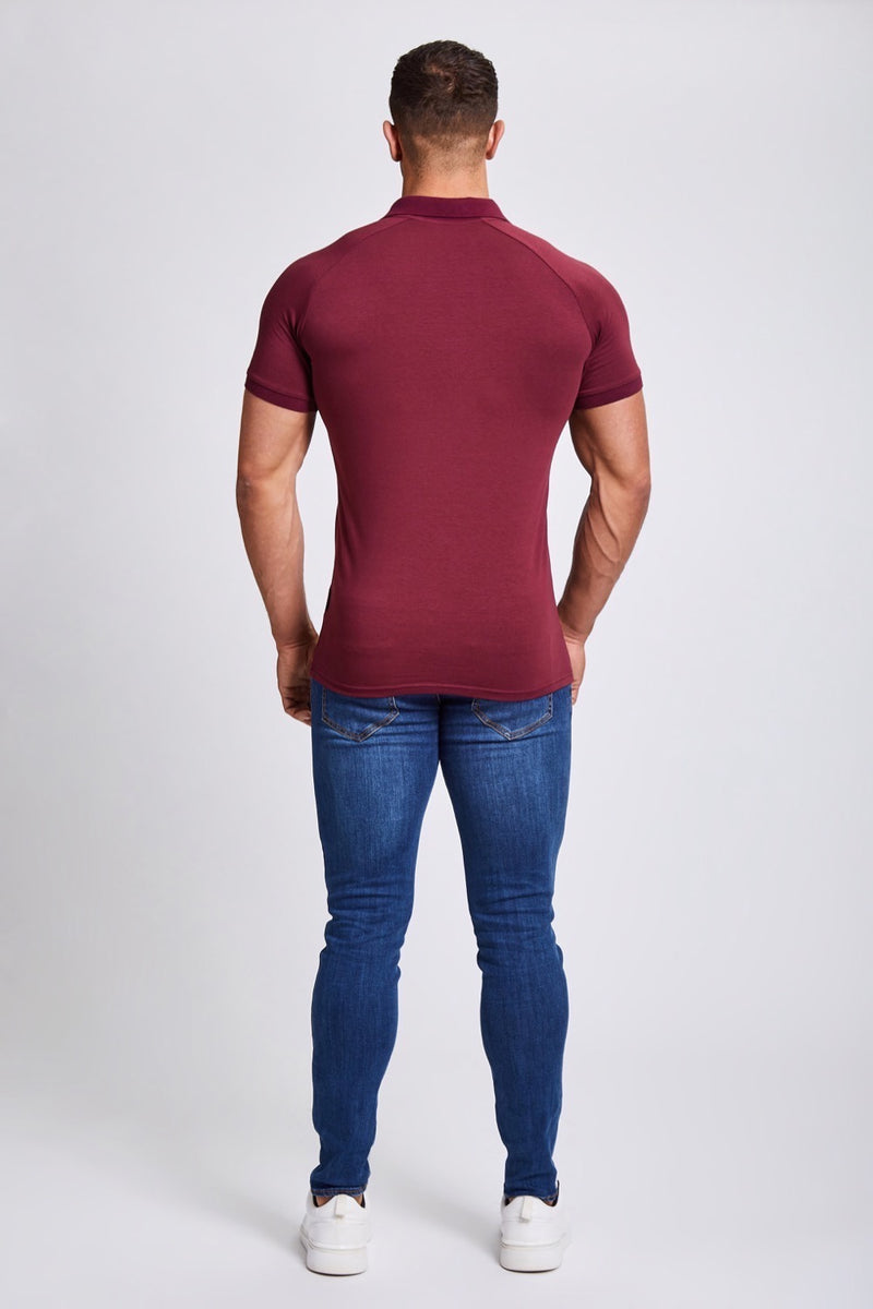 Zip Polo Shirt in Burgundy