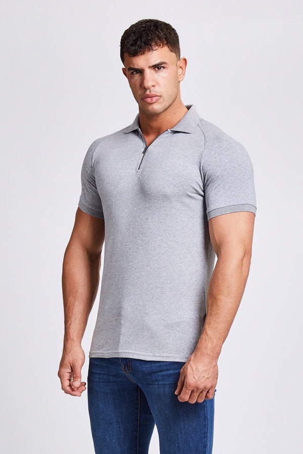 Zip Polo Shirt in Grey