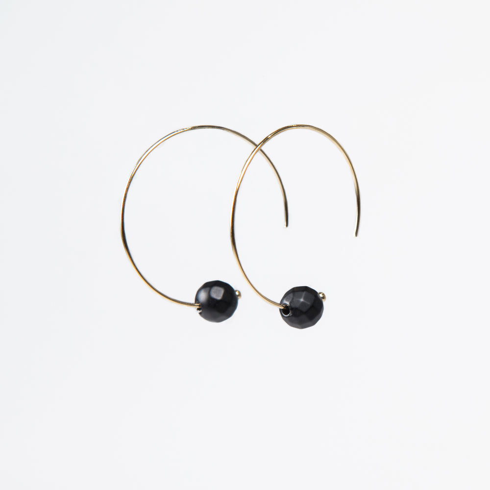 Matte Onyx Threaded Earring