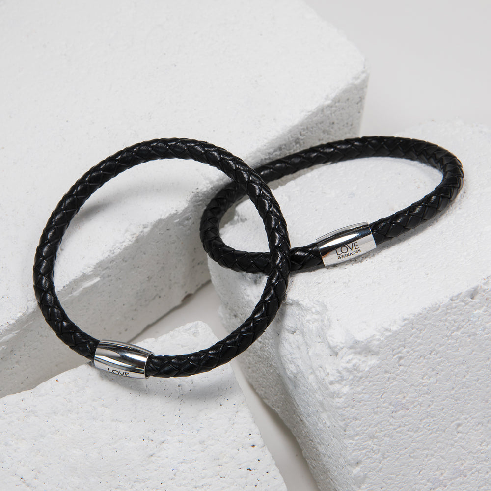 Black Colored Braided Leather Bracelet