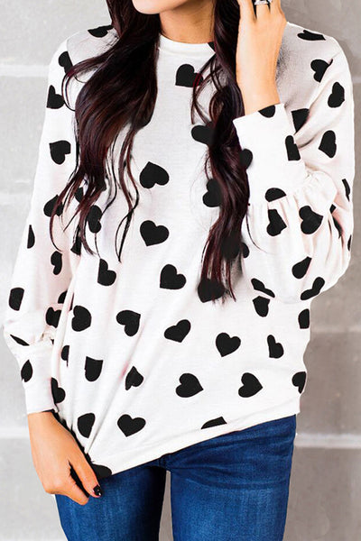 Pericoat Round Neck Heart-shaped T-shirt (Sale)