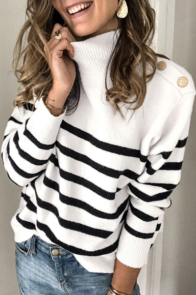 Pericoat Turtleneck Button Striped Sweater