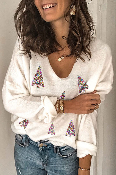 Pericoat Presale Christmas Day V Neck White Sweater