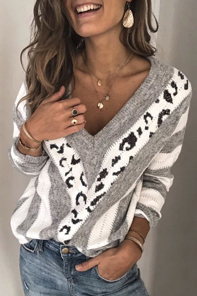 Pericoat Presale V Neck Striped Leopard Patchwork Sweater