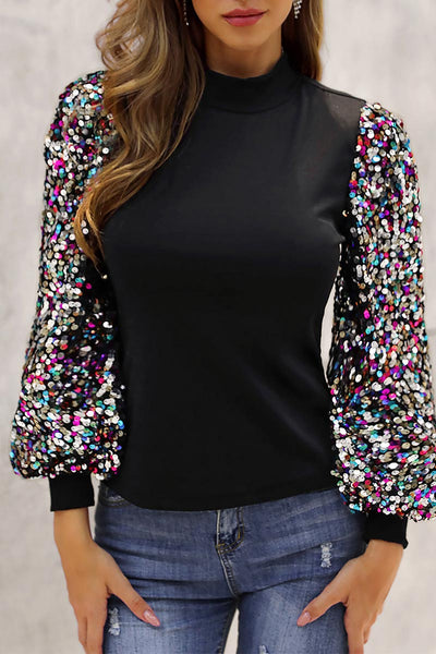 Pericoat Turtleneck Sequins Patchwork Sleeves Sweatshirt