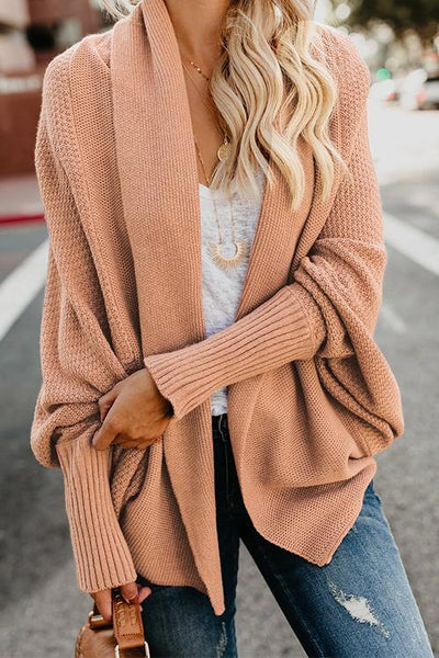 Pericoat Batwing Sleeve Casual Solid Cardigan