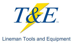 T&E Logo with Lineman Tools and Equipment