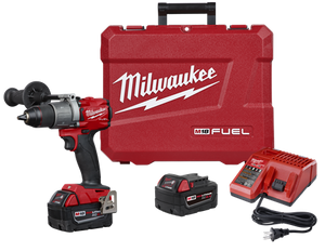 "MILWAUKEE 1/2"" HAMMER DRIL/DRIVER M18, KIT W/TOOL, 2 BATTERIES, CHARGER AND CASE"