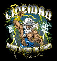T&E Lineman Storm T-Shirt, Black, X-Large