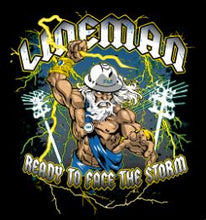 Load image into Gallery viewer, T&E Lineman Storm T-Shirt, Black, Medium