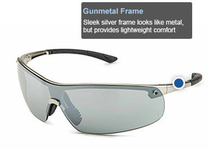 Safety Glasses, Ingot Gunmetal Frame, Silver Mirror Lens