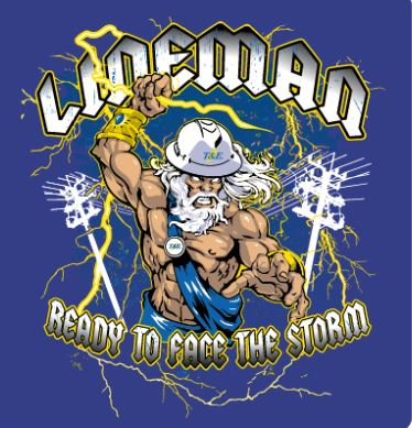 T&E Lineman Storm T-Shirt, Deep Royal, 2X-Large