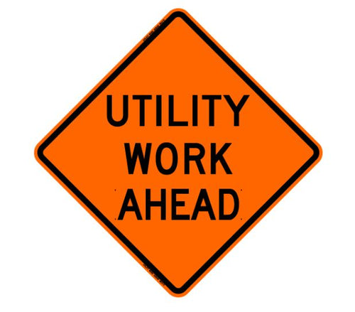 Vinyl Reflective Sign with Ribs, Utility Work Ahead, 48