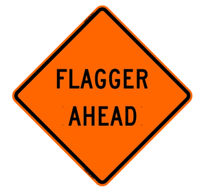 "Vinyl Reflective Sign with Ribs, Flagger Ahead (Symbol), 48""x48"" (Fits SZ-412-S Autolatch)"