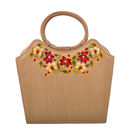 Beige Colored Embroidery Shopping Bag