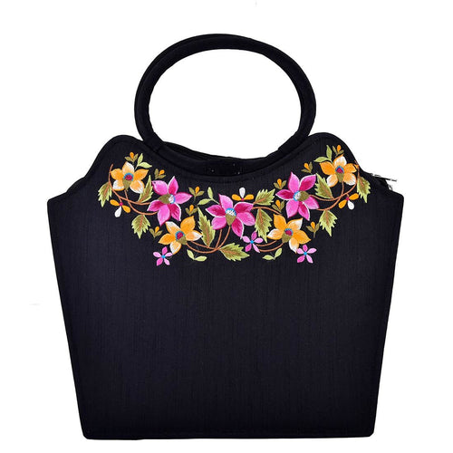 Beautifully Embroidered Black Shopping Bag