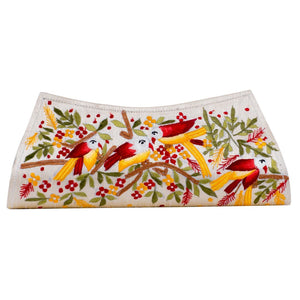 Beautiful Red & Yellow Embroidery Flower Beige Clutch