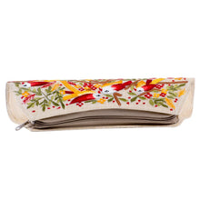 Load image into Gallery viewer, Beautiful Red & Yellow Embroidery Flower Beige Clutch