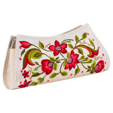 Load image into Gallery viewer, Red Embroidered Flower Beige Hand Purse