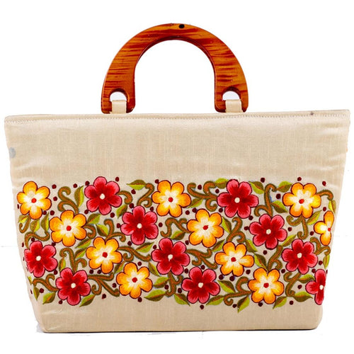 Beautiful Red & Yellow Flower Embroidered Handbag