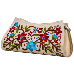 Beige Coloured Multishade Embroidered Purse