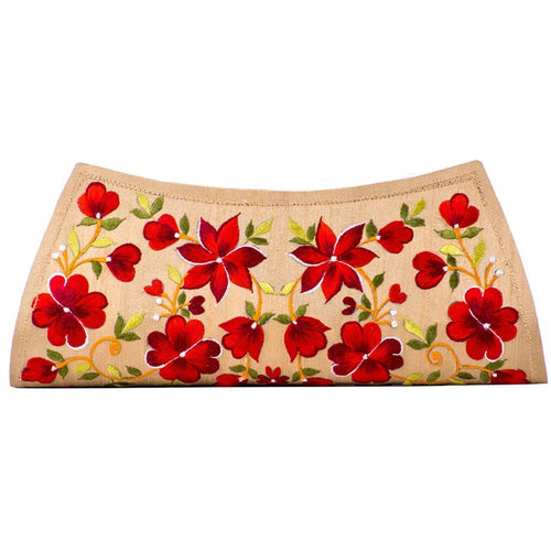 Beige Coloured Clutch with Red Floral Embroidery
