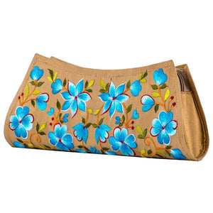 Beige Hand Purse with Turquoise Floral Embroidery