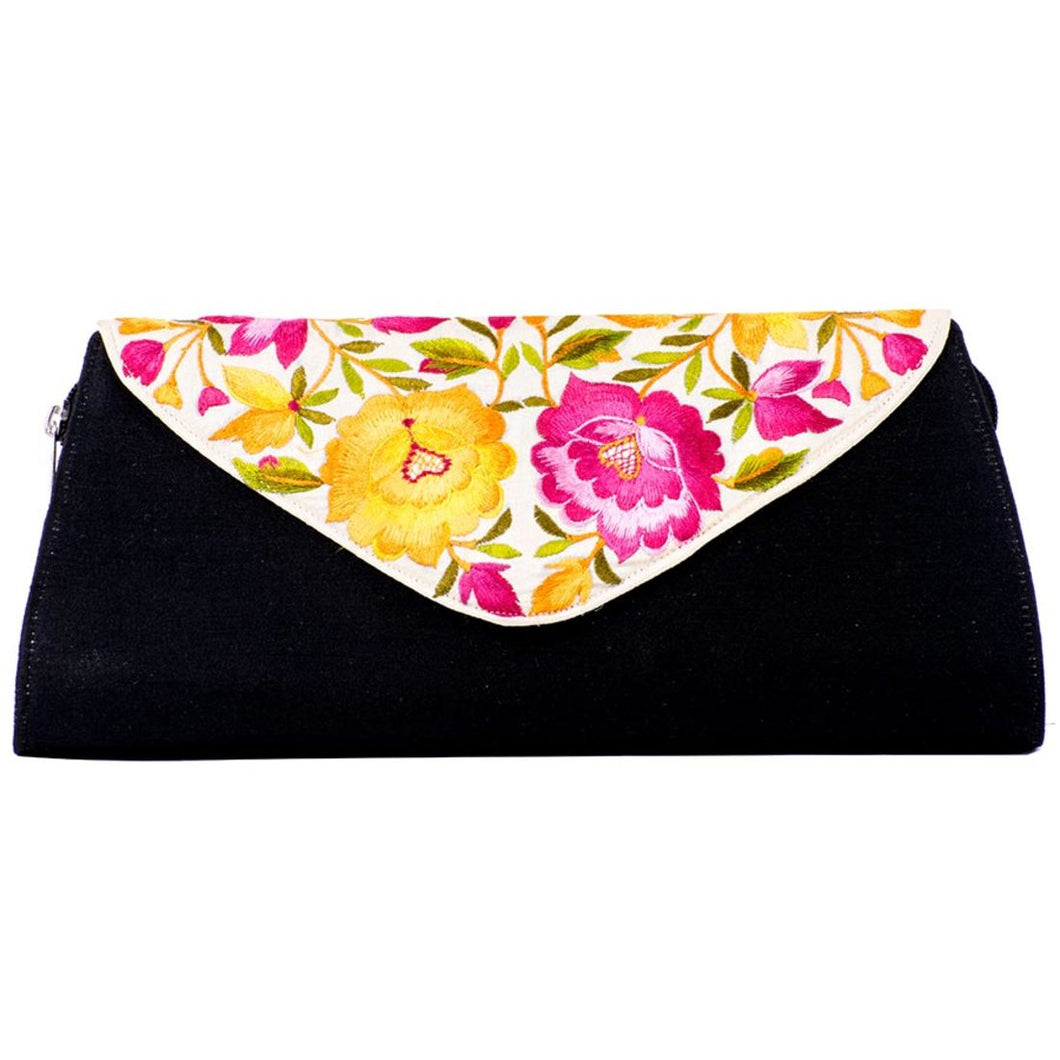 Black Purse with Embroidered White Colour Flap Cover