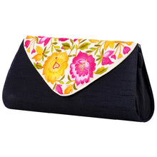 Load image into Gallery viewer, Black Purse with Embroidered White Colour Flap Cover