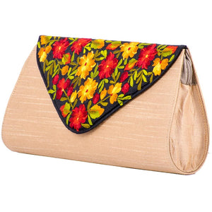 Beige Coloured Small Purse with Black Embroidered Flap