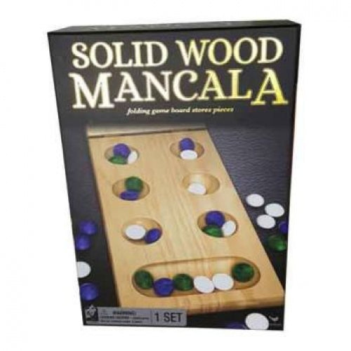 Mancala - Folding Solid Wood Board & Glass Beads