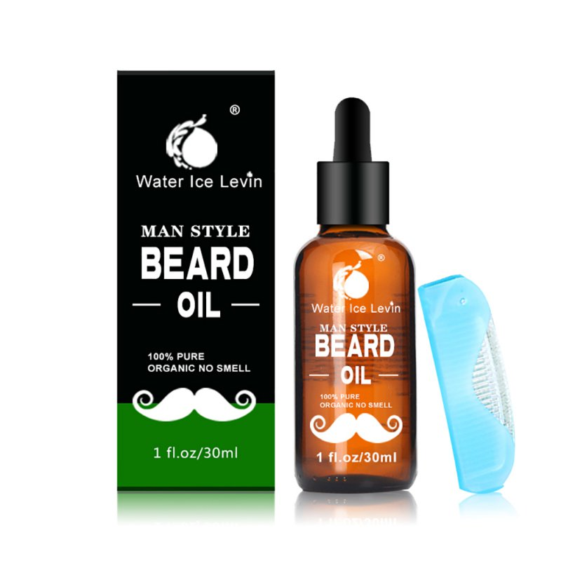 100% Natural Men Beard Mustache Growth Repair, Conditioner Beard Oil and Moisturizing Beard Oil With Comb