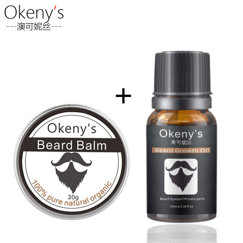 Okeny's 2pcs Beard Oil Wax And Balm for Growth & Thickening