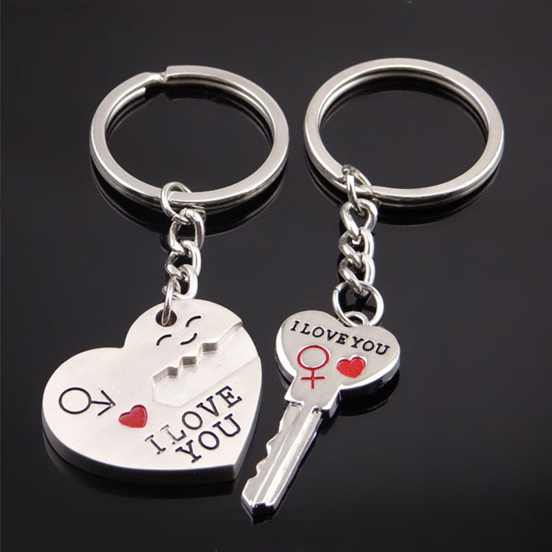 "2018 Romantic Lover's Keychain Arrow Key Couple Keychains Keyring Girlfriend Boyfriend Gifts""I Love You"" High Quality 2Pcs/Set"