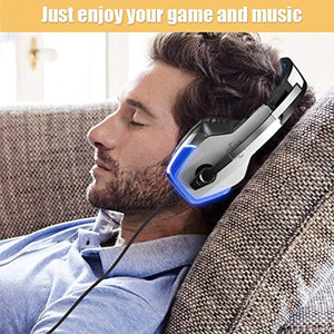 BENGOO V-4 Gaming Headset for Xbox One, PS4, PC, Controller, Noise Cancelling Over Ear Headphones with Mic, LED Light Bass Surround Soft Memory Earmuffs for Mac Nintendo Switch Games