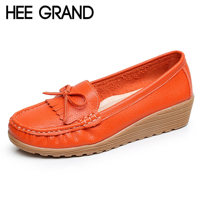 46280bb922a17 HEE GRAND Tassel Loafers Casual Wedges Platform Shoes Woman Creepers Slip  On High Heels Comfort Women
