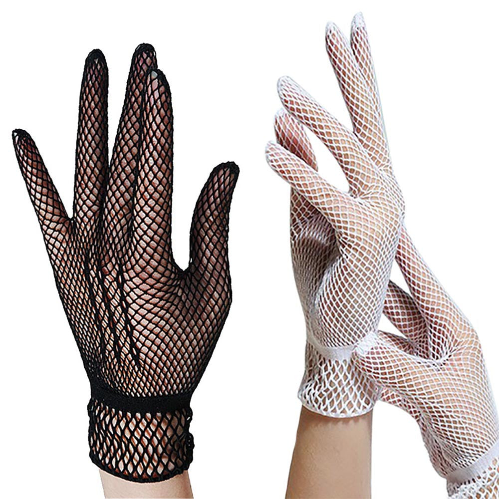 2017 Fashion Fishnet Gloves Women Summer UV-Proof Driving For Thin Gloves Mesh Black White luva motociclista