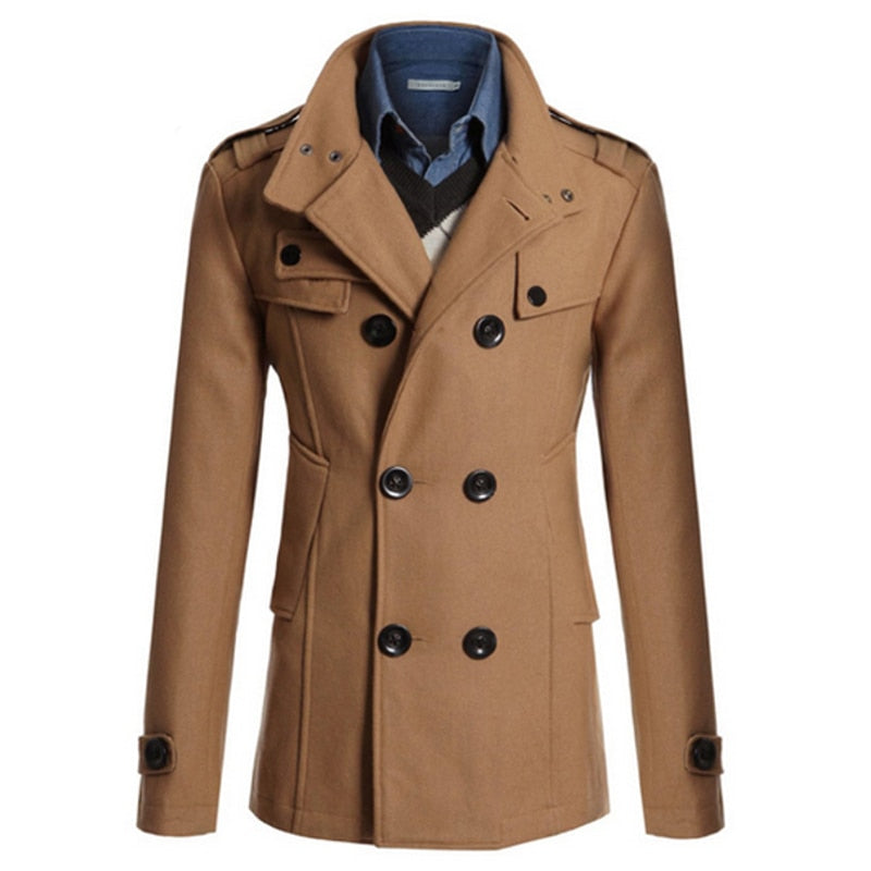 2018 Winter Men's Jacket Coat Warm Woolen Casual Slim Fit Double-breasted Business Male Jackets Overcoat Trench Suits Coat Men